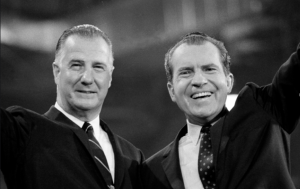 Spiro Agnew and Richard Nixon