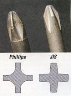 JIS (squarely indented) vs regular Phillips (roundly indented) tips