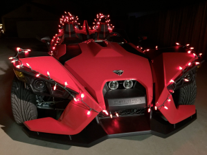 Slingshot with Christmas lights